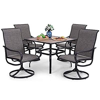 Buy Phi Villa Outdoor Patio Dining Set 5 Piece Clearance With 4 Swivel Dining Chairs 1 Wood Like Square Dining Table For Outdoor Kitchen Lawn Garden Black Frame Online In Turkey B08sw3ggt3