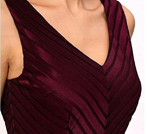 Le Sans Manches Confortables Femme Solide Équipée Accepter La Taille Robe Dos Nu Mi Vin Rouge