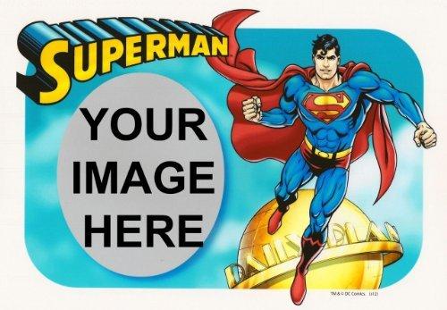 (1/4 Sheet ~ Superman Photo Frame Birthday ~ Edible Image Cake/Cupcake Topper!!!)