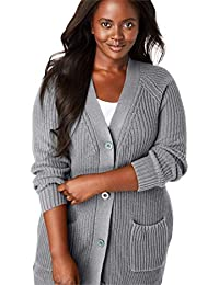 Plus Size Button-Front Shaker Cardigan