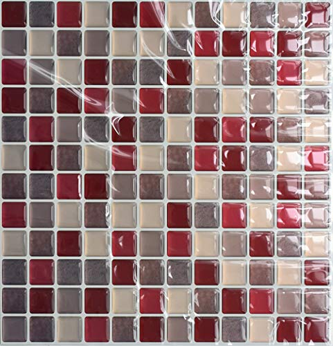 VANCORE 3D Mosaic Sticker Peel and Stick Tile Backsplash Contact Paper for Home Kitchen, Pack of 4, Red