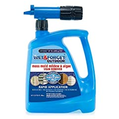 The new Wet and Forget rapid application hose end makes cleaning moss, mold, mildew, and algae quick and easy. Treat an entire house, roof, driveway, or deck in minutes. The bottle attaches directly to your hose and sprays up to 30 feet, allo...