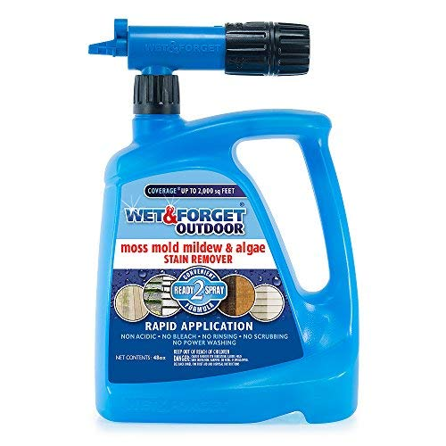 Wet and Forget 805048 Moss, Mold, Mildew and Algae Stain Remover Hose End, 48 oz. - Blue (Best Moss Killer For Patios)