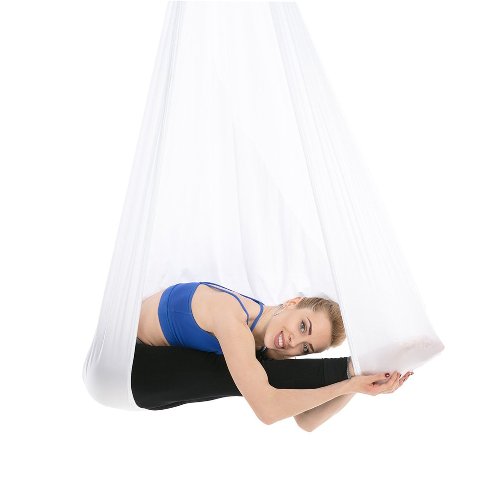 Tofern Aerial Yoga Hammock Kit 5.5 Yards Antigravity Trapeze Inversion Exercise Home Indoor Outdoor Yoga Silk Swing Sling Set with Hardware Ceiling Hooks Bolts 2 Extension Straps, White by Tofern (Image #7)