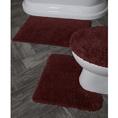 Better Homes and Gardens Thick and Plush 3-Piece Bath Rug Set, Rose Wine