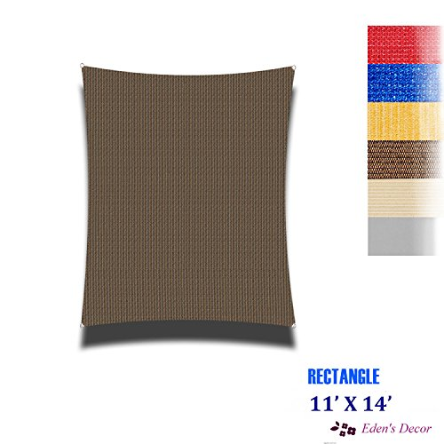 Eden's Decor Curved Rectangle 11' X 14' Brown UV-Blocking Sun Shade Sail Fabric for Patio Outdoor and Swimming (Curved Patio)