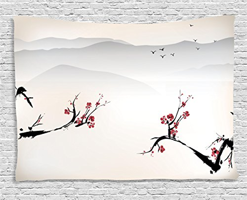 Asian Decor Tapestry by Ambesonne, Japanese Nature L