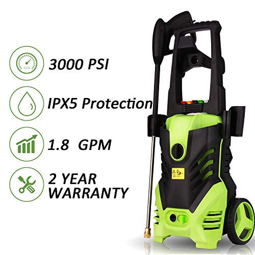 Homdox Electric Pressure Power Washer 3000PSI 1.8GPM Gas High Pressure Power Washer 1800W Machine Cleaner with Hose Reel, 5 Nozzles (Green) (Best Gas Pressure Washer 2019)
