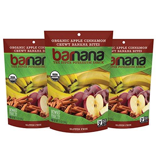 Barnana Organic Chewy Banana Bites, Apple Cinnamon, 3.5 Ounce, 3 Count Ripe Bananas