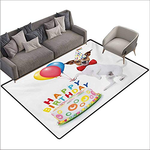 Children's Rug Kids Birthday Celebration Dancing Party Dog with Cake and Colorful Balloons Artwork Print Non-Slip Backing W78 xL106 Multicolor - Jewish Celebrations Rug