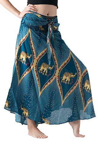 - Bangkokpants Women's Long Bohemian Hippie Skirt Boho Dresses Elephant One Size Asymmetric Hem Design (Peacock Elephant Green, Plus Size)