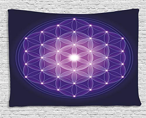 Ambesonne Dark Blue Tapestry, Flower of Life with Stars Symbol Sacred Geometry Ancient Print, Wall Hanging for Bedroom Living Room Dorm, 60 W X 40 L Inches, Dark Blue Purple and Pink