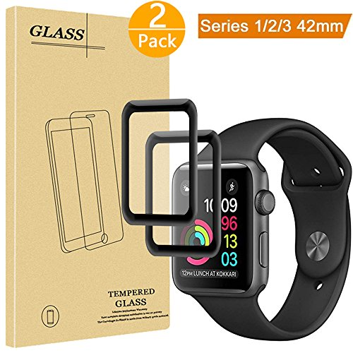 [2 Pack] Tourist Tempered Glass Screen Protector [Full Coverage] Compatible for Apple Watch 42mm Series 3 / 2 / 1 - 9H Hardness Anti-Scratch Anti-Fingerprint Bubble Free Easy Installation, Black