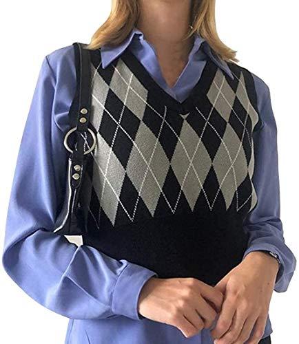 SMIMGO Trui Vest Y2k Vrouwen Plaid Gebreide V-hals Vest Mouwloos Gebreide Trui Dames Trui Vest Sweater Gilet Vrouwen