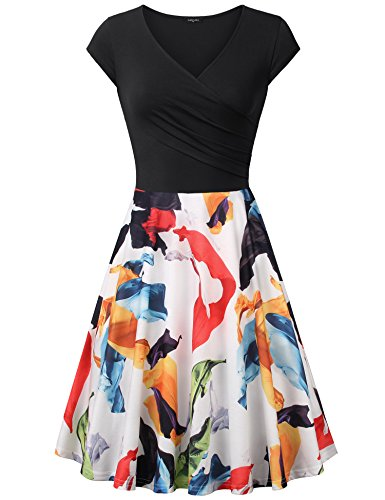 Laksmi Elegant Dresses, Womens Casual Dress A Line Cap Sleeve V Neck (Medium, Multicolor (Knee Length Dress)