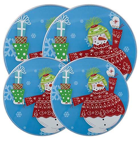 Snowman Round Electric Stove/Range Burner Kover - Set of 4 (Christmas Stove Burner Covers)