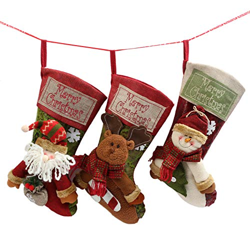 """famibay 3PCS Set 18"""" Christmas Stockings Xmas 3D Cute Tree Hanging Ornament Decoration Holders Candy Gift Bags Large Size for Family Holiday Decor Santa, Snowman and Deer ()"""