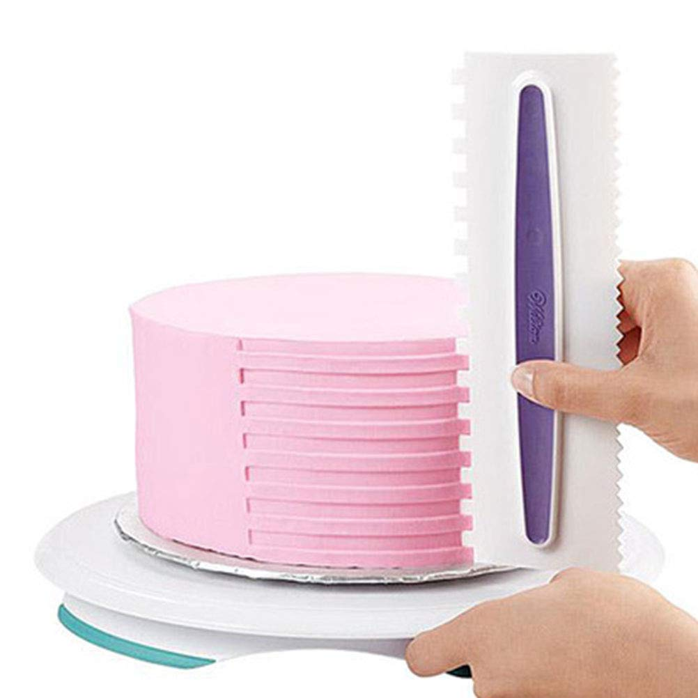 OFNMY Cake Icing Smoother 3 Piece Set Cake Smoother Scraper Cream Spatulas Comb Scraper Decorating Edge DIY Cake Tool Icing Polisher for Mousse Cream Sugarcraft Dessert Biscuits