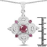304-Carat-Genuine-Ruby-Rhodolite-Garnet-White-Topaz-925-Sterling-Silver-Pendant