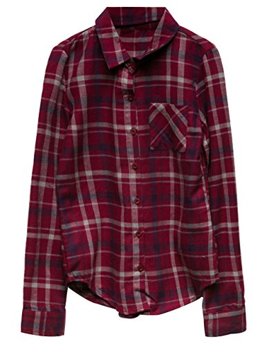 Burgundy Flannel (Full Tilt Plaid Girls Flannel Shirt, Burgundy Combo, Medium)