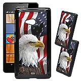 [TeleSkins] - Microsoft Lumia 540 Designer Plastic Case - Bald Eagle American Flag - Ultra Durable HARD PLASTIC Protective Snap On Back Case / Cover for Microsoft Lumia 540.