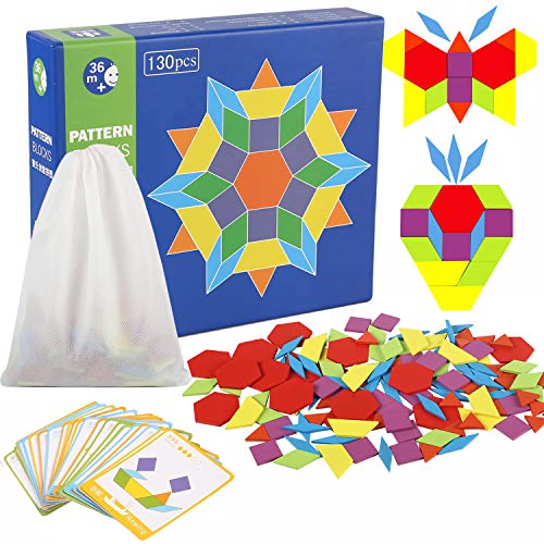 Joqutoys 130 Pieces Wooden Pattern Blocks with 24 Design Cards Counting Educational Toy for Kids (130 Pcs)
