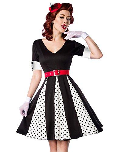 mit amp; schwarz rot Manschetten Kleid kurzen mit weiß Retro Ausschnitt Ärmeln Godet Kleid V AzYwx11Sq