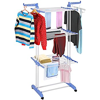 Amazon.com: Yescom Rolling Collapsible Clothes Drying Rack 3-Tier ...