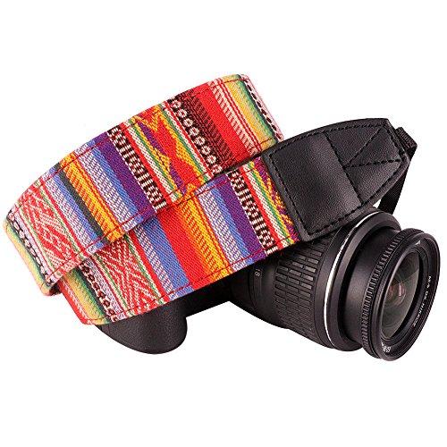 Wolven Pattern Canvas Camera Neck Shoulder Strap Belt Compatible for All DSLR/SLR/Men/Women etc, Red Stripe Pattern