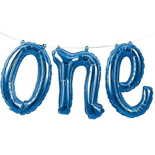 Blue 'One' Air Balloon Banner (Mi 1 Ft)
