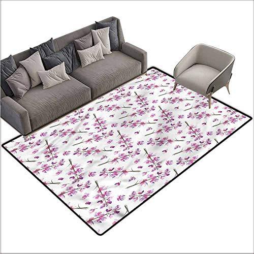 (Home Bedroom Floor Mats Purple,Blooming Flowers Nature 60