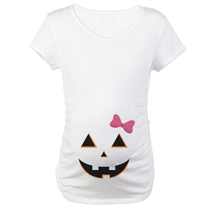 c86eda4d32013 CafePress Pumpkin Face Pink Bow Maternity Tee at Amazon Women s ...