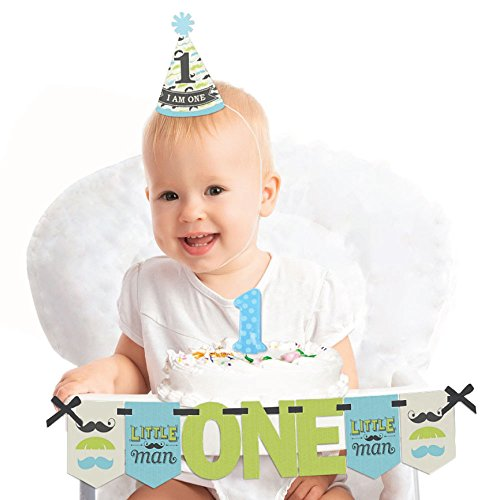 (Big Dot of Happiness Dashing Little Man Mustache Party 1st Birthday - First Birthday Boy Smash Cake Decorating Kit - High Chair Decorations)
