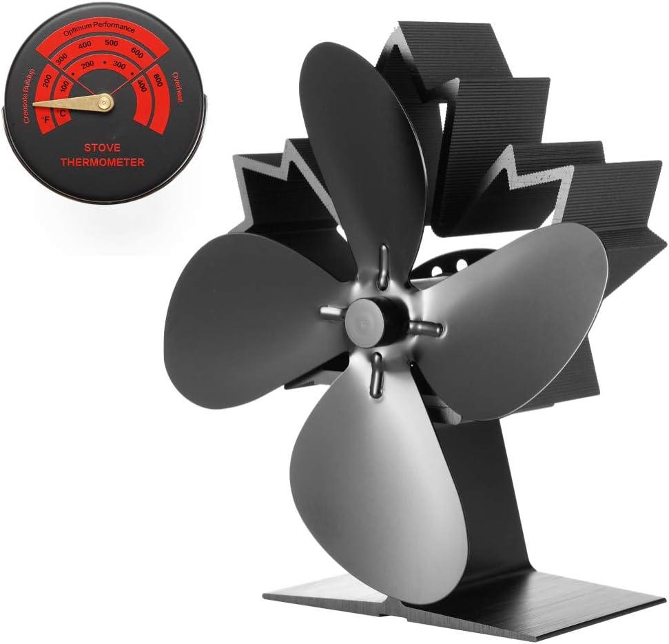 Ventilador de estufa , ventilador de chimenea de 4 hojas(2019)