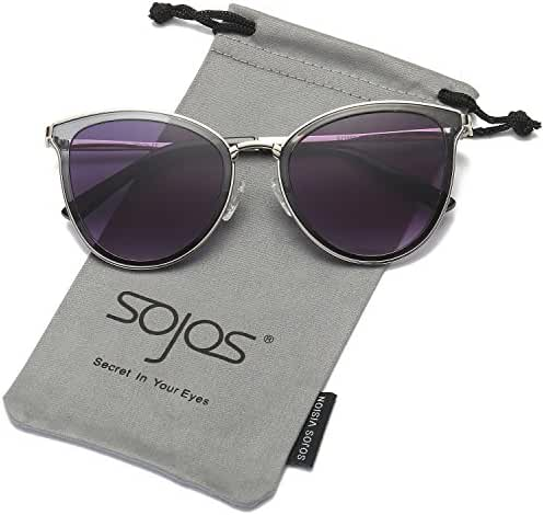 SojoS Womens Cat Eye Flash Mirrored Reflective Lenses Sunglasses SJ1052