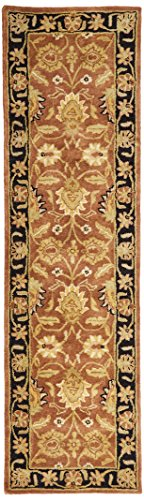 Safavieh Classic Collection CL239C Handmade Traditional Oriental Rust and Black Wool Runner (2'3