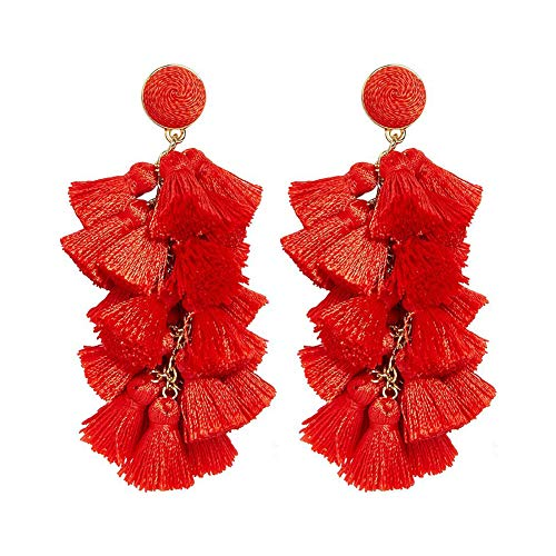Tassel Earrings Tiered Thread Dangling Stud various Fringe Drop and Titanium Posts for Women and Girls(Red) (Earrings Gold Casual)