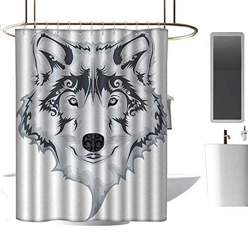 (Teal Shower Curtains for Bathroom Cotton Tattoo,The Majestic Beast Creature Head of a Wild Wolf Tribal Tattoo Design Art Print,White and Black,W55 x L84,Shower Curtain for Girls Bathroom)