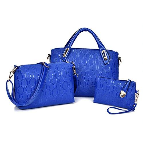 Blue Sunshine Lady Alligator Pattern Three-piece Fashion Handbag(dark Blue)