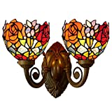 Bieye Tiffany Style Stained Glass Rose Wall Sconces with 6 inches Handmade Shade (Red Rose Double Uplight)