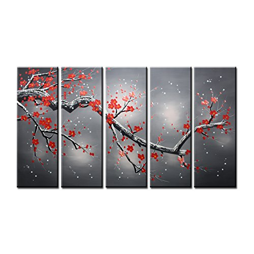 VASTING ART Hand Painted Modern Abtract Framed Canvas Wall Art Oil Paintings  Floral Plant Wintersweet Trees Ready To Hang For Living Room Wall Decor Part 29