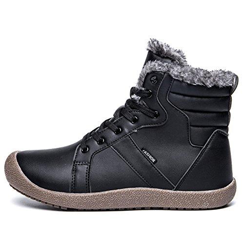 JACKSHIBO Unisex Herren Warm Leder Schneestiefel Wasserdicht Ankle Boots Non Slip Casual Martin Stiefel Winter Kurzstiefel Schwarz