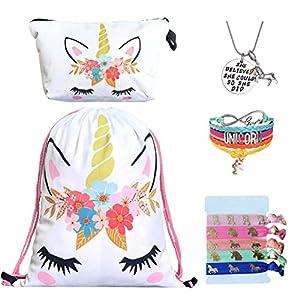 Unicorn Gifts for Girls – Unicorn Drawstring Backpack/Makeup Bag/Bracelet/Inspirational Necklace/Hair Ties