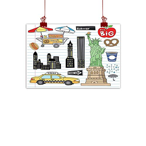 - Home Wall Decorations Art Decor Doodle,New York City Manhattan Statue of Liberty The Big Apple Hot Dog Stand Sketch Style,Multicolor 36