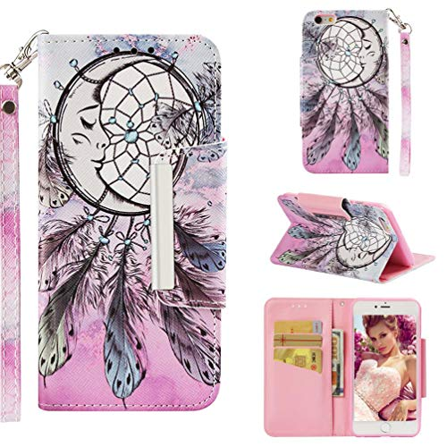 Case for iPhone 6 Plus/6S Plus,Flip Slim 3D Printing PU Leather Kickstand Card Slots Wallet Case with Wrist Strap & Magnetic Closure Inner Soft Bumper Compatible with Apple iPhone 6 Plus/6S Plus -Net
