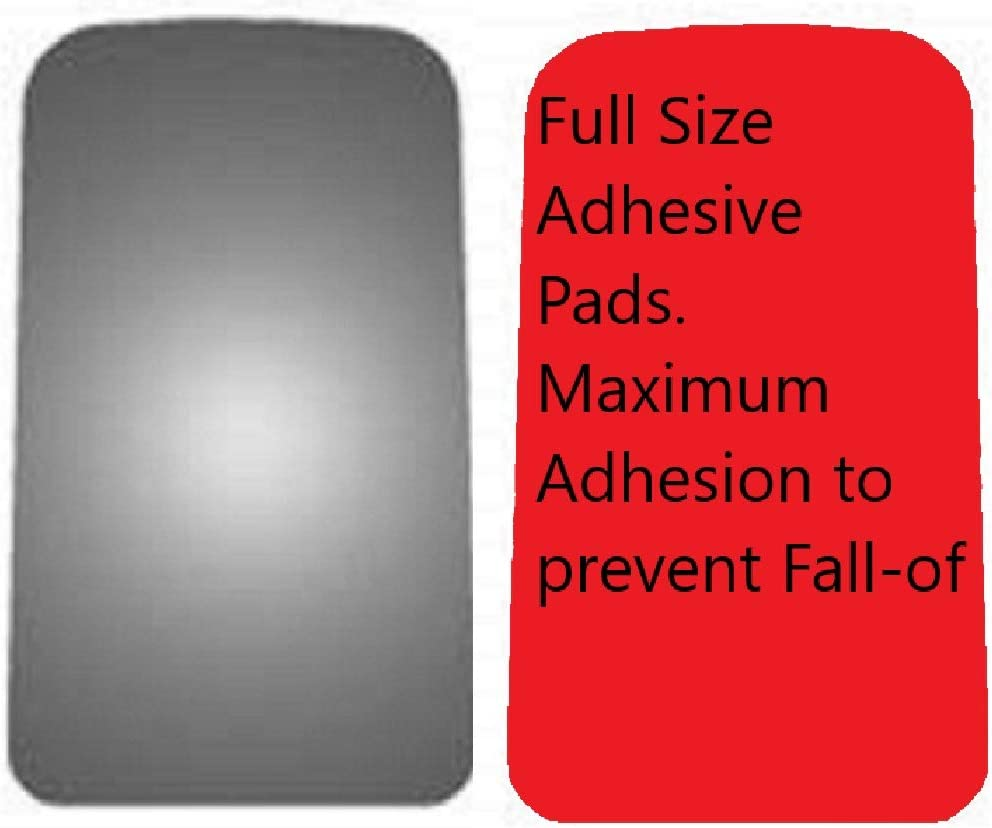 exactafit 8730 Driver or Passenger Side Mirror Glass Replacement Plus 3m Adhesives Compatible With 2003-2009 Chevrolet Chevy Kodiak GMC GM Topkick Left or Right Hand Door Wing