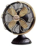 Casablanca Fan Company 1928D Zephair Matte Black Desk Fan with Satin Brass Accents