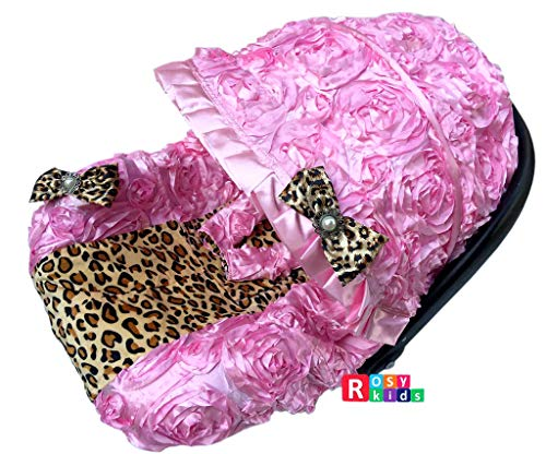 Rosy Kids Infant Carseat Canopy Cover 3pc Whole Caboodle, Baby Car Seat Cover Outdoor Kit, 3D Rosette Fabric, Baby Pink and Cheetah Print (Cheetah Baby Car Seat Covers)