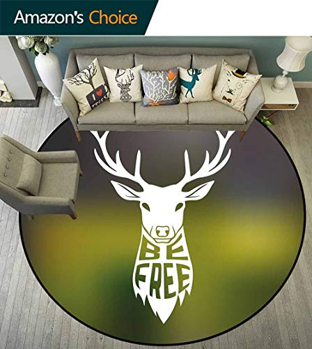 Hunting Decor Round Rug mat,Deer Head with Horns Concept Artwork Be Free Motivational Phrase Stag Nature Environmental Protection Fabric,Multicolor,D-51