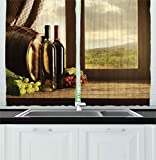 Ambesonne Winery Decor Collection, Dark Clouds Over Vineyard Rainy Weather View from Window of Farmhouse Scenery, Window Treatments for Kitchen Curtains 2 Panels, 55 X 39 Inches, Grey Maroon Green Review